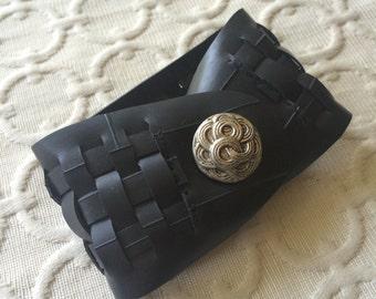 Woven Rubber Cuff - repurposed silver button (circles)