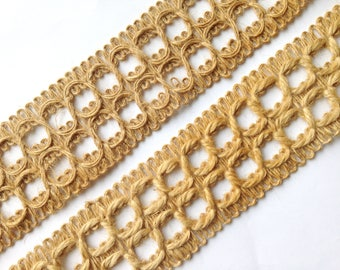 Jute Trim, 2 different weights, one delicate (4 3-4 yds), one thicker (11 yds), vintage, 2 in. wide, offering both trims in one lot.