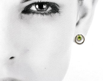Sterling silver circle studs with faceted peridot, hand-set green gemstone post earrings, August birthstone jewellery, gift for women