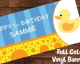 Yellow Rubber Ducky Personalized 1st Birthday Party Banner | Baby Shower Banner | Custom Party Banner | Rubber Duckie