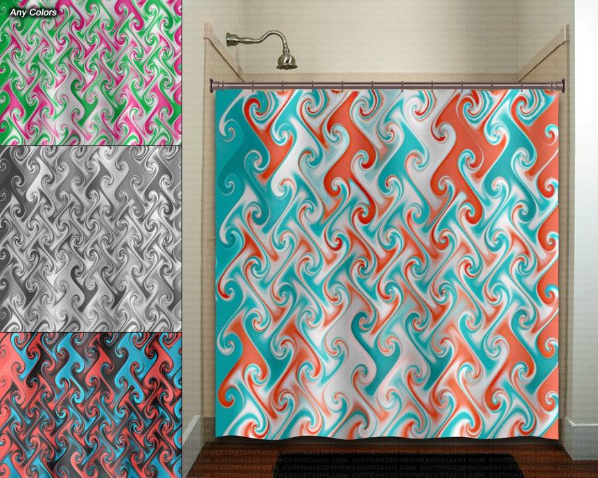Aqua Coral Metallic Style Ebru Shower Curtain Fabric Extra