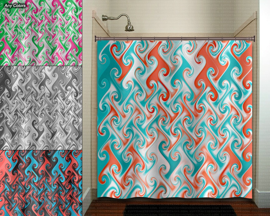 Turquoise And Coral Shower Curtain.  zoom aqua coral metallic style ebru shower curtain fabric extra