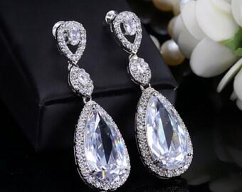 Zircon Bridal earrings, Bridal post earrings, Wedding Earrings, Long Dangle Teardrop, Bridal Jewelry,  Cubic Zirconia Drops