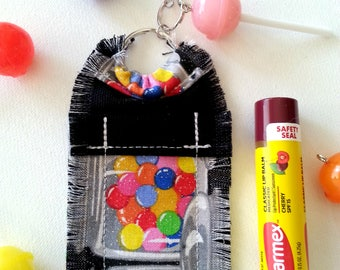 Candy Lip Balm Holder Keychain, Chapstick Holder, Chapstick Cozy, Gift for Girls, Gift for Women, Pink Lollipop Charm, Bag Charm