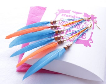 Handmade Blue and Orange Feather Earrings with coloured beads.