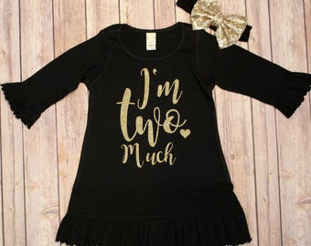 Two Birthday Dress, 2nd Birthday Dress, Girls 2nd Birthday, Sparkle Birthday Dress, Second Birthday shirt, 2nd Birthday Shirt, I'm Two Much
