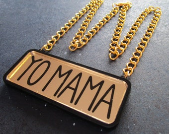 Yo Mama Necklace, Gold Statement Necklace, Chunky Chain Bling, Mothers Day Necklace, Gold Chain