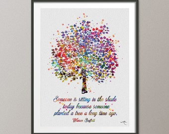 Tree Nature Quote 2 Family Love Watercolor Print Wedding Gift Archival Fine Art Print Wall Decor Art Home Nursery Wall Hanging [NO 745]