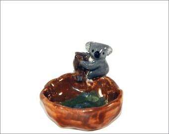 koala pinch pot trinket dish or ashtray handmade pottery Anita Reay  ceramic koala bear figurine great mothers  day gift nst