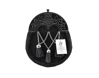 New Dress Full Black Fur Highland Thistle sporran