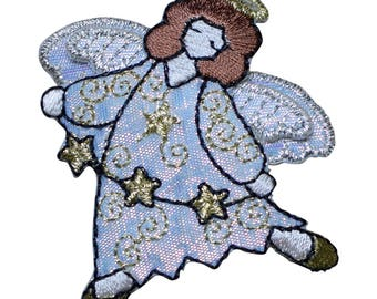 Angel with String of Stars Applique Patch (Iron on)