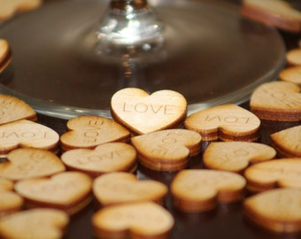 """Confetti Hearts """"Love"""" Engraved on Wood (Set of 100)"""