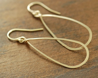 Gold Teardrop Earrings, 14k Gold Fill Hoop Earrings, Handmade Earrings, Metal Jewelry