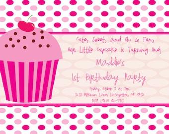 DIY DIGITAL PRINT Cupcake Birthday Invitation