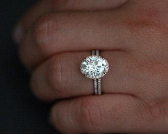 Oval Moissanite Diamond Engagement Ring Bridal Ring Set 14k