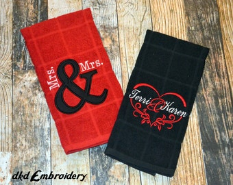 Mrs and Mrs Personalized Wedding Gift Kitchen Towels