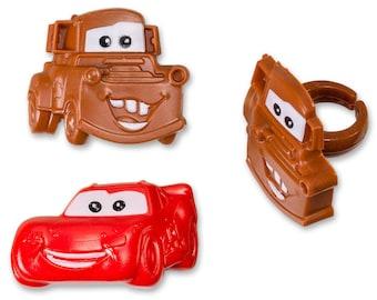 Cars Cupcake Rings Birthday Wedding Set of 24 Cup Cake Car Disney Mater McQueen