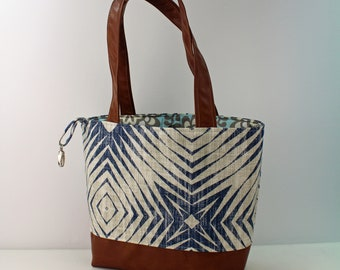 Lulu Large Tote Diaper Bag Capri Blue and PU Leather READY to SHIP- Travel Overnight Purse Nappy Bag