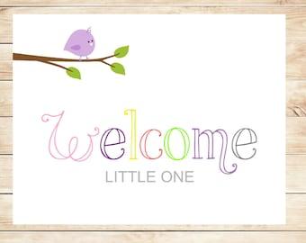 Printable New Baby Girl Purple Welcome Card - Instant Download Card - Welcome Baby Girl Card