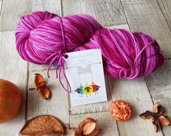 Hand dyed yarn, purple yarn, pink yarn, OOAK burnt orchard dipdye colourway, lace yarn, indie dyed yarn, lace knitting yarn, knitting UK.