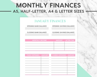 NEW! MONTHLY FINANCES Printable | Pastel, Expenses Insert, Monthly Expenditure, Finance Planner, Budgets, Finance, Budget And Finance