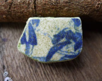 Little Blue and White Figure / Vintage Scottish Pottery / Scottish Beach / Genuine Sea Pottery