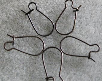 Clearance SALE Dark Antique Bronze Brass Ear Wire Hooks 18mm Oxidized OX Nickel Free 719