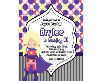 Superhero Invitation - Pink Purple Polka Dots, Pink Super Hero, Girl Superhero Personalized Birthday Party Invite - a Digital Printable File