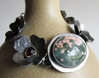 Ocean Jasper and Ant Hill Garnet Flower Link Bracelet
