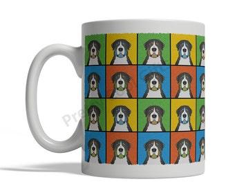 Greater Swiss Mountain Dog Cartoon Pop-Art Mug - 11oz. Ceramic Coffee Tea Cup