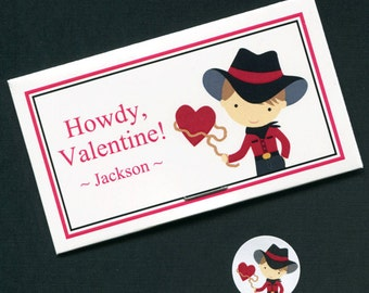 20 Valentine Candy Bag Sets - Valentine Treat Bag - Candy Stickers - Plastic Bags - Candy Bags - Cowboy