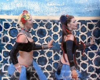 Belly Dance, Bohemian, Gypsy, Blue, 8 x 8, Art Print, Wall Decor, 5 Pointed Star, Tile, Mosaic, Pattern
