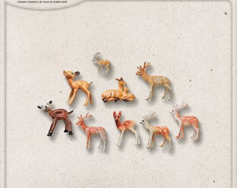 Woodland Toy Animals, Deer, Reindeer, Animal Figures, Commercial Use OK, Christmas, Digital Scrapbooking Elements, Forest, Outdoor, Winter