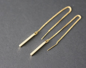 Little Gold Bar Threader Earrings// Gold Bar chain earrings // Gold Chain Earrings