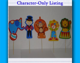 Set of 5 Characters - Circus Birthday Party Centerpiece, Character cut-outs