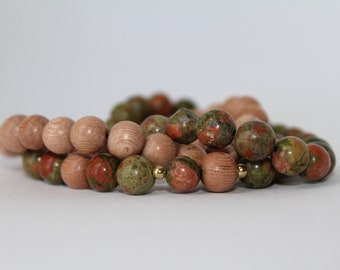 Green Unakite and Rosewood Set, 8mm, gold plated, elastic, gifts, stackable bracelets