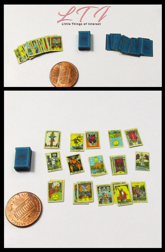 Dollhouse Doll TAROT CARDS in 1:12 Scale Miniature For Dollhouse Roombox Or Diorama Magic Potter Gypsy Tarot Magic All Seeing Eye