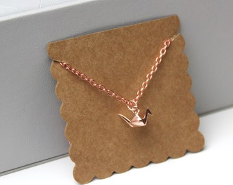 Rose Gold Origami Crane Swan Necklace // dainty rose gold necklace // with gift packaging