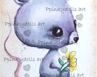INSTANT DOWNLOAD Digital Digi Stamps..by Chrishanthi's art,Mouse''
