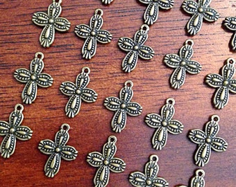 Bulk 40 Cross Charms, Bronze Cross Charms, Antique Bronze Cross Charms, Double Sided Cross Charms, Jewelry and Craft Supplies, Findings