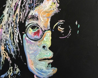 John Lennon Art The Beatles Art by Matt Pecson Pop Art Painting on Canvas Painting Husband Gift Boyfriend Gift for Him MADE TO ORDER
