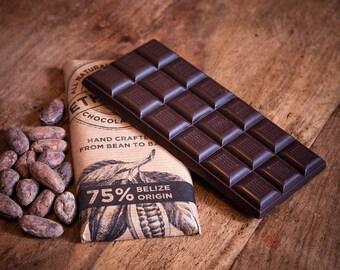 Craft Chocolate 75% Single Origin, Belize, Vegan Dairy Free Dark