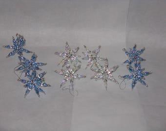 Set of 9 hand made plastic bead ornaments stars