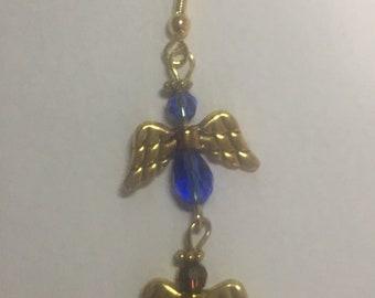 Mother's Day Birthstone Angel Gold Earrings (2 Children)
