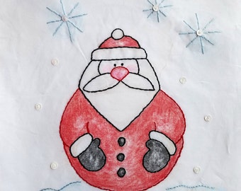Santa Crayon Tinted Hand Embroidery PDF Pattern and Instructions by Seasons of Joy on Etsy//Beginner//Digital Download