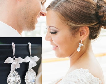 Wedding Jewelry Bridal Earrings Bridesmaid Earrings Bridal Jewelry Bridesmaid Gift leaf charm with Swarovski Tear drop earrings (E-B-0013)