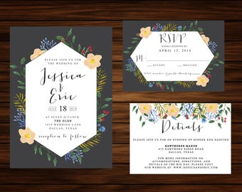 Watercolor Floral Wedding Invitation by PrintablePapery [printable]