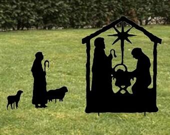 Nativity Scene / Garden / Stake / Manger / Baby Jesus / Christmas  / Decoration / Outdoor / Metal / Yard / Lawn Ornament / Iron / Art