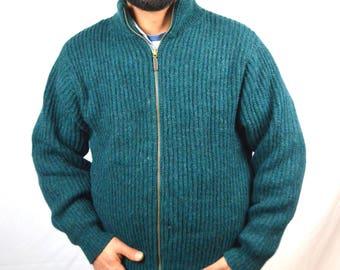 Vintage LL Bean Green Wool Zipper Cardigan Sweater