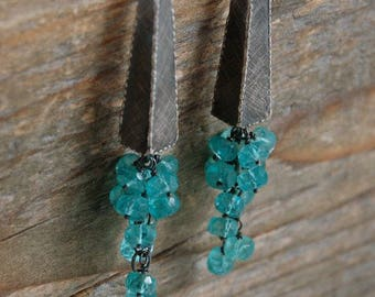 apatite silver earrings, apatite cluster earrings, apatite long earrings